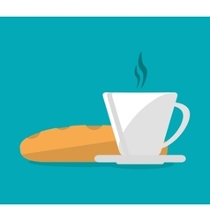 Mug and bread of fast food concept vector