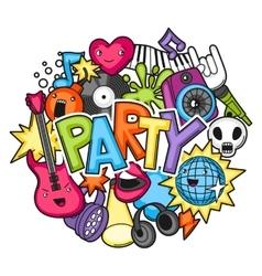 Music party kawaii design Musical instruments vector image