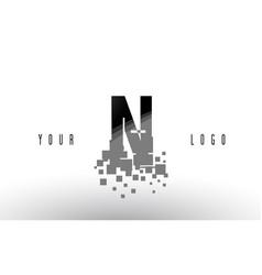 N pixel letter logo with digital shattered black vector