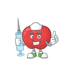 Nurse apple fruit character mascot for health vector