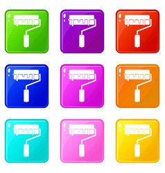 Paint roller with paint icons 9 set vector