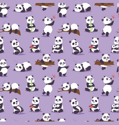 Panda bear cude character different pose vector
