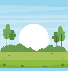 Park with sun rising vector