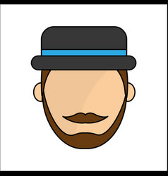 people avatar face men with hat icon vector image
