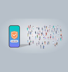 people group using mobile app data privacy vector image