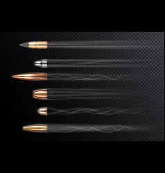 Realistic flying bullets with shot smoke traces vector
