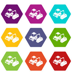 road tractor icons set 9 vector image