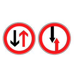 roadsigns priority road or oncoming traffic vector image