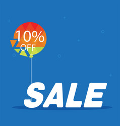 sale 10 off balloon blue background image vector image