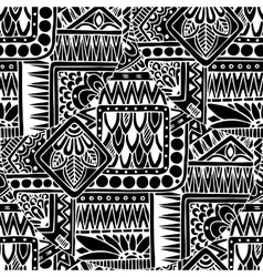 Seamless asian ethnic floral retro doodle black vector image