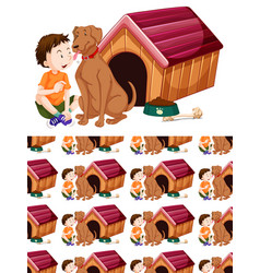 Seamless background design with dog and boy vector