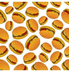 Seamless pattern of hamburgers with pickles vector