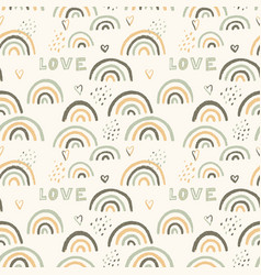 Seamless pattern with hand drawn rainbows vector