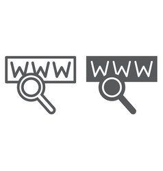 search line and glyph icon internet and network vector image