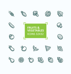 set icons fruits and vegetables in vector image