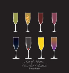 set of 8 cocktails in champagne glass vector image