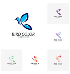 set of bird logo flying bird logo design vector image