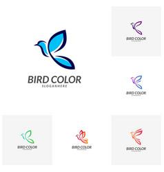 set of bird logo flying bird logo design vector image