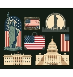 set of symbols of the United States of America vector image