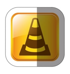 Sticker square shape with striped traffic cone vector
