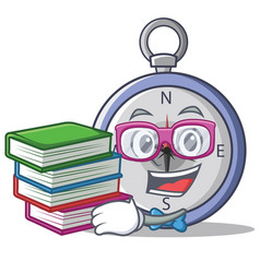 Student with book compass character cartoon style vector