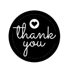 Thank you round label sticker badgepromotional vector
