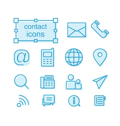 Thin line icons set contact vector