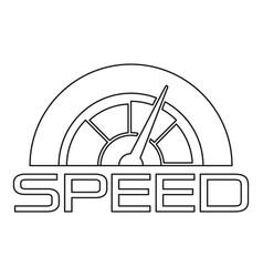 Trendy speedometer logo outline style vector