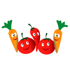 vegetables chili tomatoes and carrot vector image