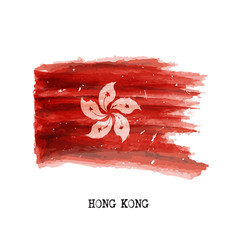 Watercolor painting flag of hong kong vector