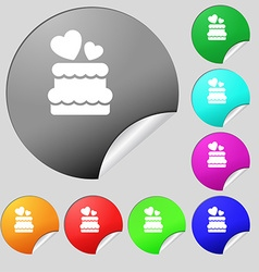 wedding cake icon sign Set of eight multi colored vector image