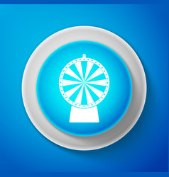 white lucky wheel icon isolated on blue background vector image