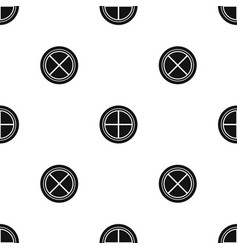 White round window pattern seamless black vector