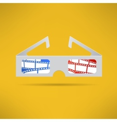 Cinema 3d glasses with footage tape inside Modern vector image