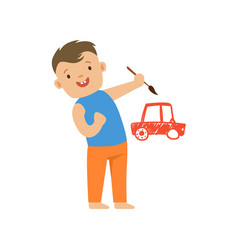 cute smiling little boy painting a red car on a vector image