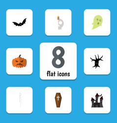 flat icon halloween set of cranium fortress vector image vector image