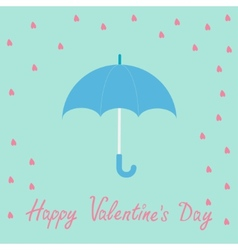 Pink heart rain with blue umbrella Flat design vector image vector image