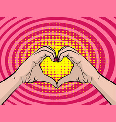 white young woman handd show heart sign vector image vector image