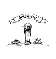 beer glass mug oktoberfest festival sketch banner vector image