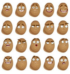 cute cartoon potatoes smile with many expressions vector image vector image