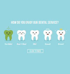 Dental care service rating with teeth characters vector