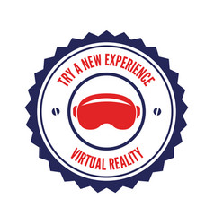isolated vr headset logotype virtual reality vector image vector image