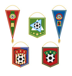 soccer pennants set football flag emblem vector image