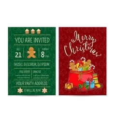 Bright Cartoon Invitation on Christmas Fun Party vector image