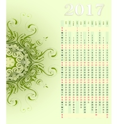 Calendar 2017 with ornament vector image vector image