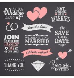 Chalkboard wedding elements set vector