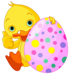Easter Duckling gives thumbs up vector image vector image