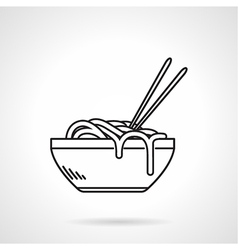Noodles bowl black line icon vector image