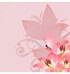 pink lilies vector image vector image