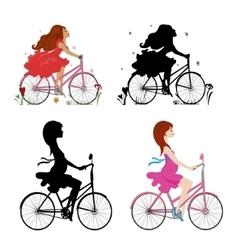 Set pregnant and non-pregnant girls riding bikes vector image